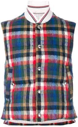 Thom Browne Gingham Tartan Down-Filled Hairy Mohair Vest