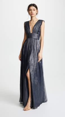 Monique Lhuillier Bridesmaids Metallic Ruffle Gown with V Neckline