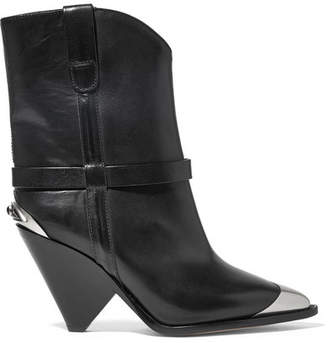 Isabel Marant Lamsy Embellished Leather Ankle Boots - Black