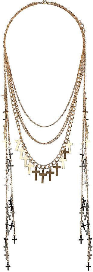 Topshop Cross Multirow Necklace