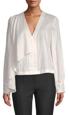 Robert Rodriguez Draped-Front Cotton Blouse