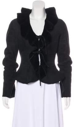 Fleurette Shearling Ruffle-Trimmed Jacket