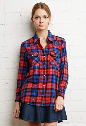 Forever 21 Tartan Plaid Snap-Button Shirt