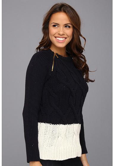 MICHAEL Michael Kors Raglan Zip Cable Sweater