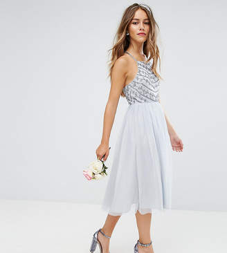 Asos DESIGN Petite Bridesmaid delicate beaded strappy back midi dress