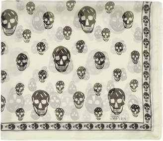 Alexander McQueen Ivory and Black Silk Skull Scarf