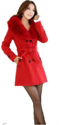 Partiss Women Wool Faux Fur Trench Parka Double-Breasted Winter Coat