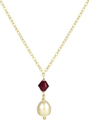 Swarovski Plated Sterling Silver Garnet Crystallized Elements Bicone Bead and White Freshwater Cultured Pearl Drop Pendant Necklace