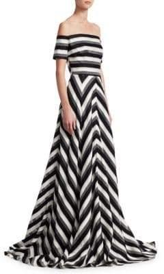 Lela Rose Off-The-Shoulder Fit-&-Flare Gown