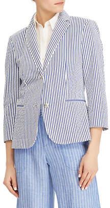 Lauren Ralph Lauren Striped Quarter-Sleeve Blazer