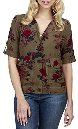 Lucky Brand Women's Printed Short Sleeve Military