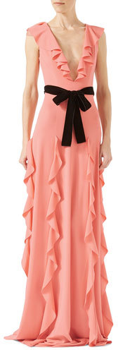 Gucci Gucci Viscose Jersey Gown with Ruffles