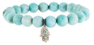 Sydney Evan 14K Larimar, Turquoise & Diamond Hamsa Bead Bracelet