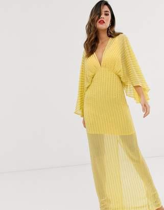 Asos Design DESIGN kimono maxi dress in linear sequin