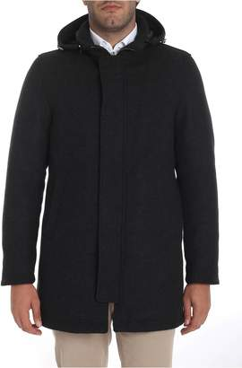 Herno Zipped Hooded Coat