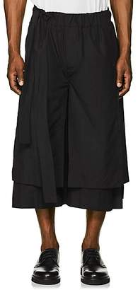 Craig Green Men's Layered Cotton Drop-Rise Shorts - Black