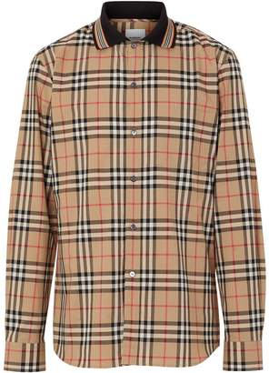 Burberry Icon Stripe Detail Vintage Check Cotton Shirt