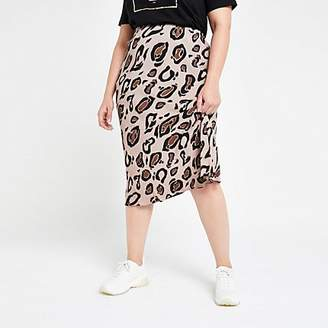 24ed268459 River Island Plus brown leopard print bias cut midi skirt