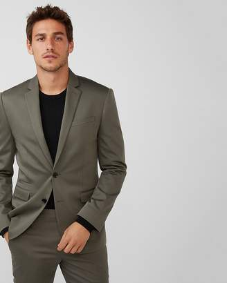 Express Slim Green Cotton Sateen Suit Jacket