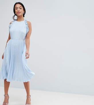 Asos DESIGN Petite Pleated Midi Dress With Ruffle Open Back