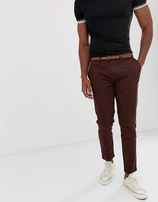 Pull&Bear skinny chino with belt in burgundy