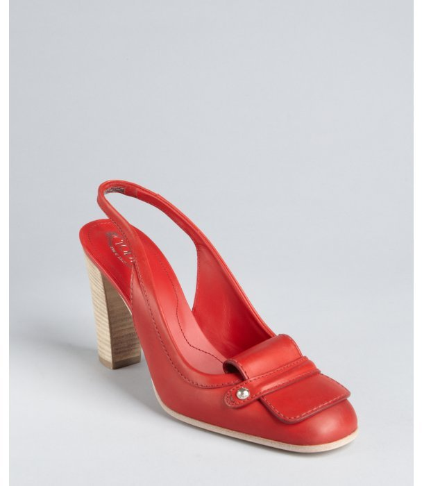 Tod's cherry leather slingback stacked heel loafer pumps