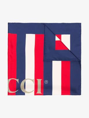 Gucci red, white and blue sylvie stripe silk scarf