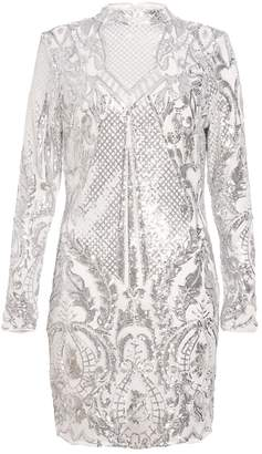 Quiz TOWIE White and Silver Sequin Bodycon Dress
