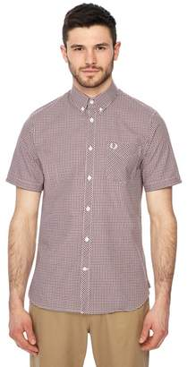 Fred Perry Red Gingham Print Short Sleeve Regular Fit Shirt