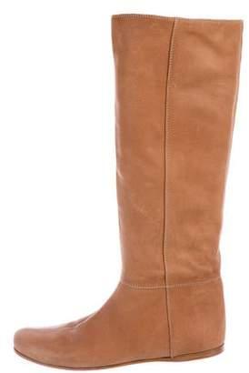 Prada Sport Leather Round-Toe Knee-High Boots
