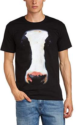 PRINTED WARDROBE Men's Big Face Animal Cow Crew Neck Short Sleeve T-Shirt