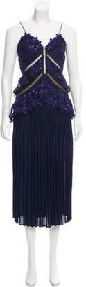 Self-Portrait Guipure Lace-Accented Midi Dress