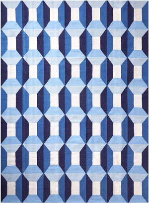 Blue Sorrento Reversible Peruvian Flat Weave Rug