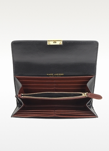 Marc Jacobs Black and Chestnut Penny Leather Wallet