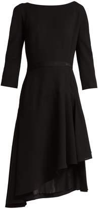 Lanvin Asymmetric pleated wool midi dress