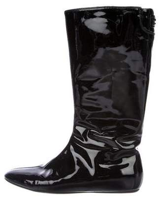 Burberry Patent Leather Mid-Calf Boots