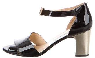 Bionda Castana Patent Leather Block Heel Sandals