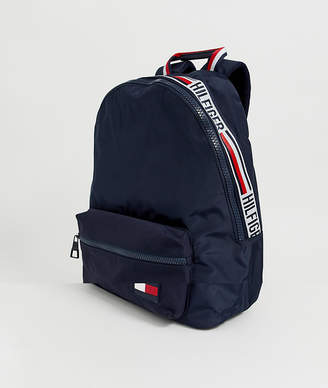 Tommy Hilfiger backpack with icon taping and flag icon in navy