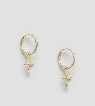 Kingsley Ryan sterling silver gold plated ornate drop cross hoop earrings