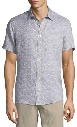 Michael Kors Men's Short-Sleeve Printed Linen Button-Down Shirt
