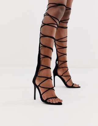 366c8f3faef3 Asos Design DESIGN Harsh knee high gladiator heeled sandals in black