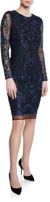 Donna Karan Embroidered-Floral Sheath Dress