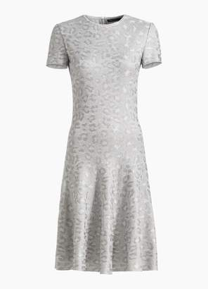 St. John Sequin Animal Jacquard Knit Fit & Flare Dress