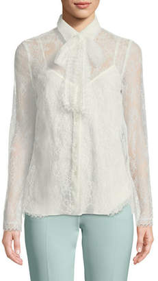 Escada Long-Sleeve Chantilly Lace Blouse with Removable Tie & Cami