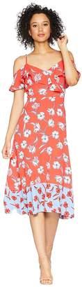 London Times Cold Shoulder Ruffle Maxi Dress Women's Dress