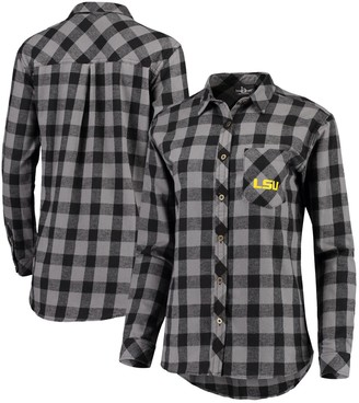 Buffalo David Bitton Unbranded Women's Charcoal/Black LSU Tigers Plaid Flannel Button-Down Shirt
