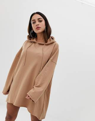 Missguided hooded sweater mini dress in camel