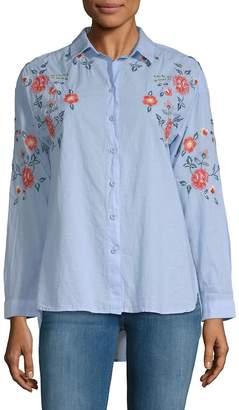 Beach Lunch Lounge Women's Lucianna Embroidered Cotton Button-Down Shirt