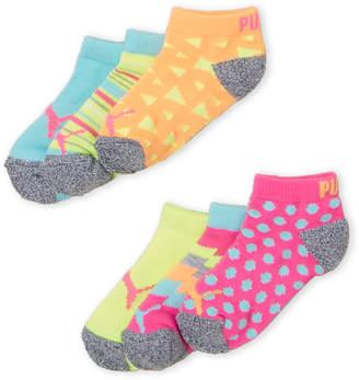 Puma Toddler Girls) 6-Pack Low Cut Cushioned Heel & Toe Socks