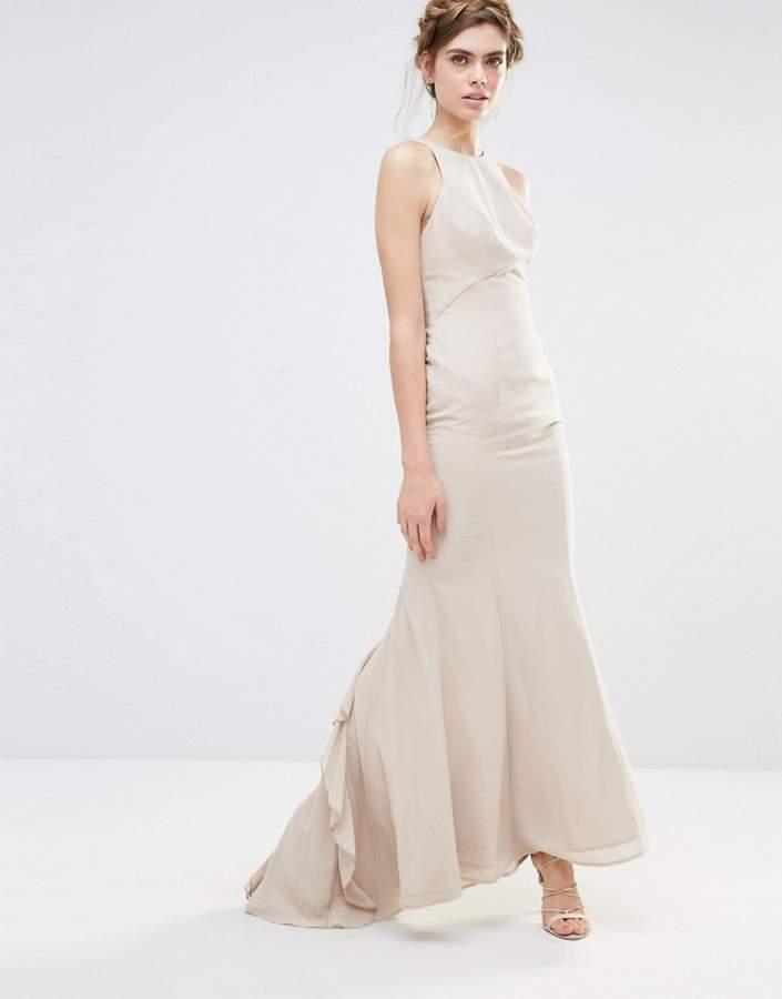 Fishtail Wedding Dress With Ruffles : Jarlo wedding maxi dress with fishtail and ruffles at back
